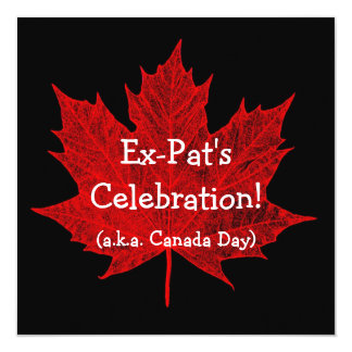 Ex-Pat's Celebration!-Canadian Maple Leaf-Red Invite