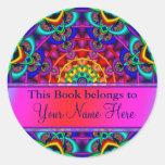 Ex pegatinas del Bookplate de Libris Pegatina Redonda