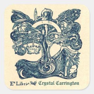 Ex pegatinas del Bookplate de Libris del vintage Pegatina Cuadrada