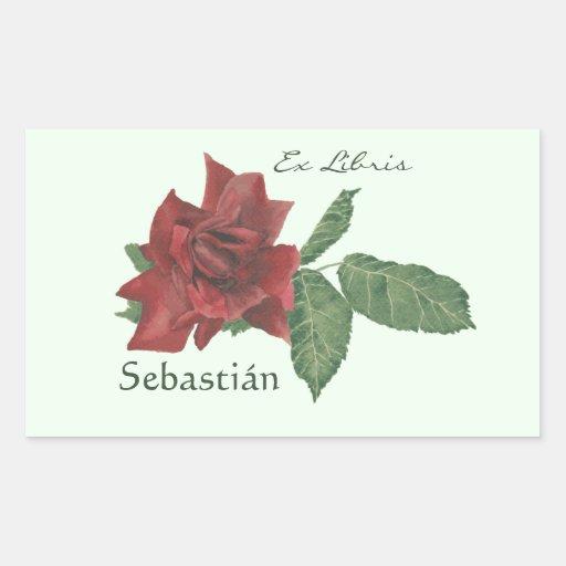 Ex placas de libro de Libris del rosa rojo Pegatina Rectangular