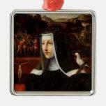 Ex Voto dedicated to St. Catherine of Siena Square Metal Christmas Ornament