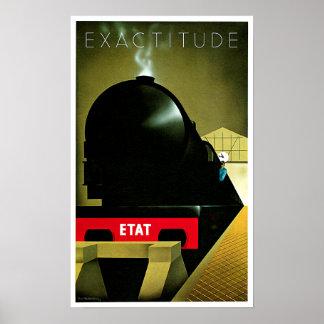 Exactitude ETAT French Railway Travel Art Poster