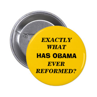 EXACTLY WHAT HAS OBAMA EVER REFORMED? PINBACK BUTTON