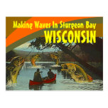 Exageración retra de Wisconsin de la bahía del Tarjetas Postales