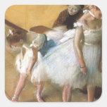 Examen de Edgar Degas, ballet de la danza del Calcomanía Cuadradas