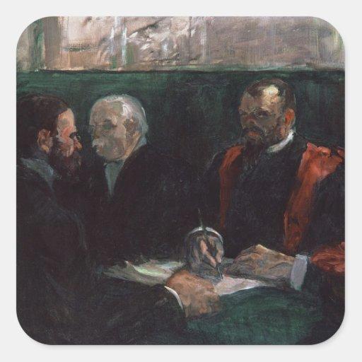 Examen en la facultad de la medicina, 1901 calcomanías cuadradass personalizadas