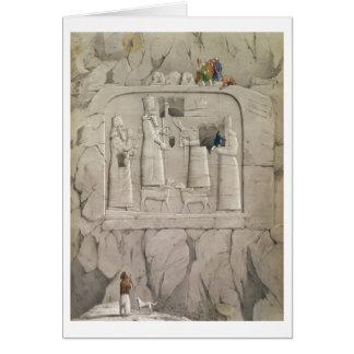 Examinando una escultura asiria de la roca, de 'Di Tarjeta De Felicitación