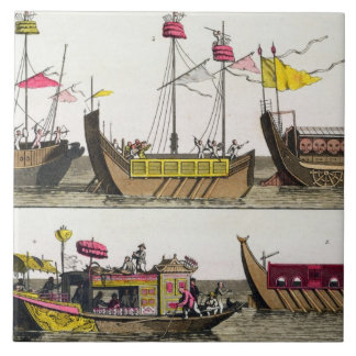 Examples of Chinese ships, illustration from 'Le C Ceramic Tile