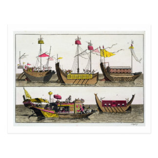 Examples of Chinese ships, illustration from 'Le C Postcard