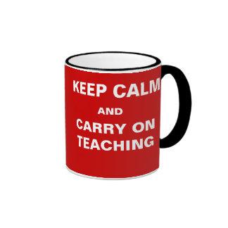 Exams Approaching Keep Calm Carry on Teaching Ringer Mug