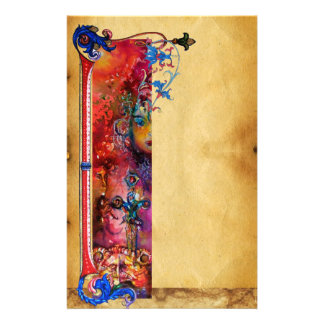 EXCALIBUR .ANTIQUE RED BLUE FLORAL PARCHMENT STATIONERY