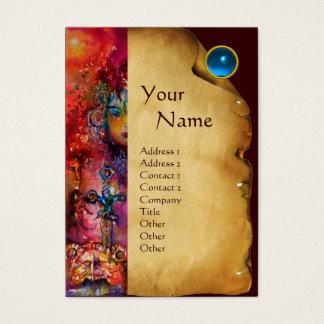 EXCALIBUR MONOGRAM Parchment,Blue Sapphire Gem Business Card