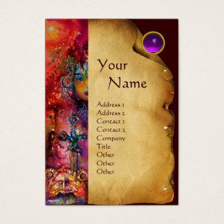 EXCALIBUR MONOGRAM Parchment, Purple Amethyst Gem Business Card