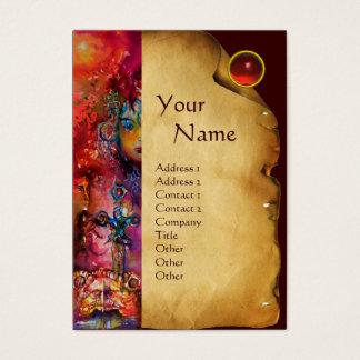 EXCALIBUR MONOGRAM Parchment,Red Ruby Gem Stone Business Card