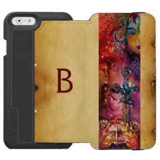 EXCALIBUR, monograma negro púrpura rojo del Funda Billetera Para iPhone 6 Watson