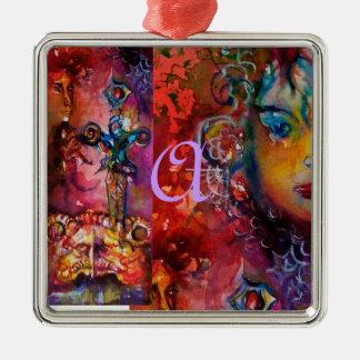EXCALIBUR,QUEEN OF MAGIC SWORD Fantasy Red Yellow Metal Ornament