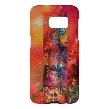 Halloween Themed EXCALIBUR /QUEEN OF MAGIC SWORD Red Yellow Fantasy Samsung Galaxy S7 Case