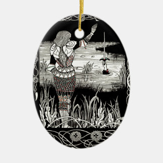 Excalibur Rising from  the Lake Ceramic Ornament