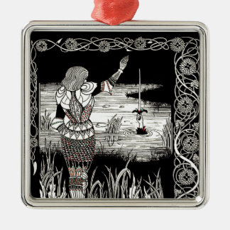 Excalibur Rising from  the Lake Metal Ornament
