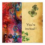 EXCALIBUR ,St Patrick's Day Party ,parchment 5.25x5.25 Square Paper Invitation Card
