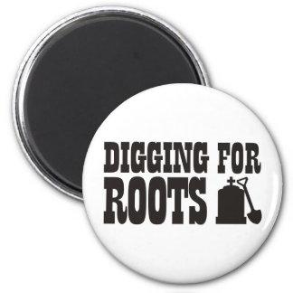 Excavación para las raíces iman de frigorífico