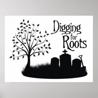 Excavación para las raíces impresiones