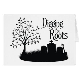 Excavación para las raíces tarjetón