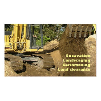 Excavador amarillo que vacia el cubo tarjetas de visita