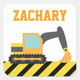 Excavador anaranjado, vehículo de la construcción, pegatina cuadrada