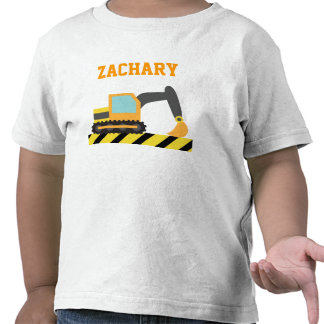 Excavador anaranjado, vehículo de la construcción, camisetas
