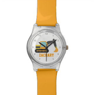 Excavador anaranjado, vehículo de la construcción, relojes