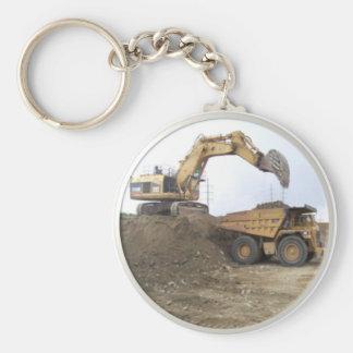 Excavador/camión volquete enormes llavero redondo tipo pin