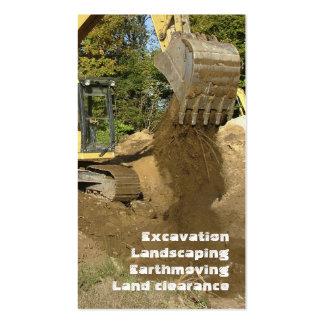 Excavador de los sectores de la construcción tarjetas de visita