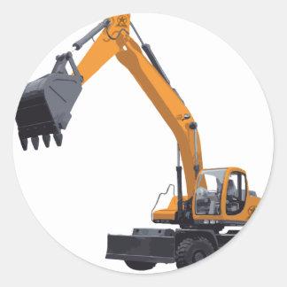 Excavador grande del Bagger Etiquetas Redondas
