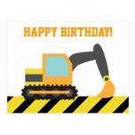 Excavador, vehículo de la construcción, feliz cump postales