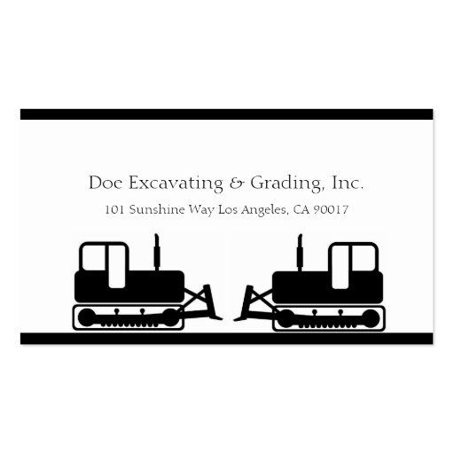 Excavating Grading Contractor Excavator Grader W/W Business Cards