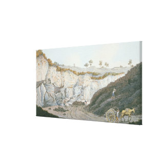 Excavations of a thick stratum of lava which ran i stretched canvas print
