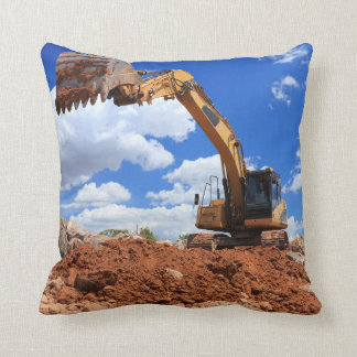 Excavator at Work Throw Pillow