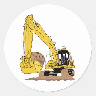 Excavator Classic Round Sticker