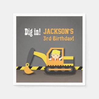Excavator Construction Birthday Party Supplies Paper Napkin