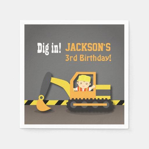 Excavator Construction Birthday Party Supplies Paper Napkin  Zazzle