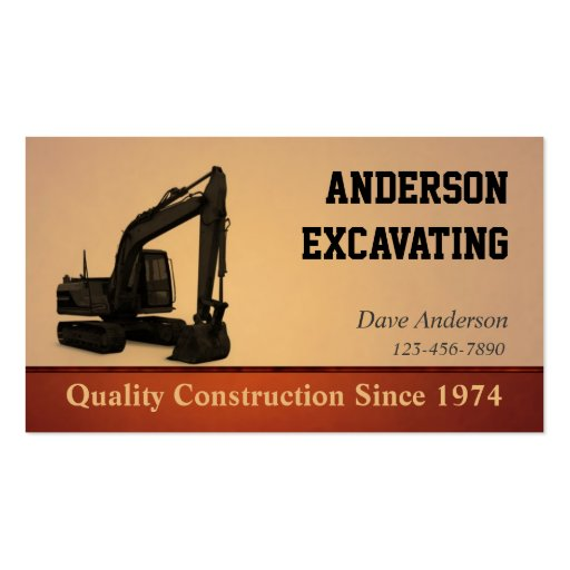 Excavator Construction Business Card Template
