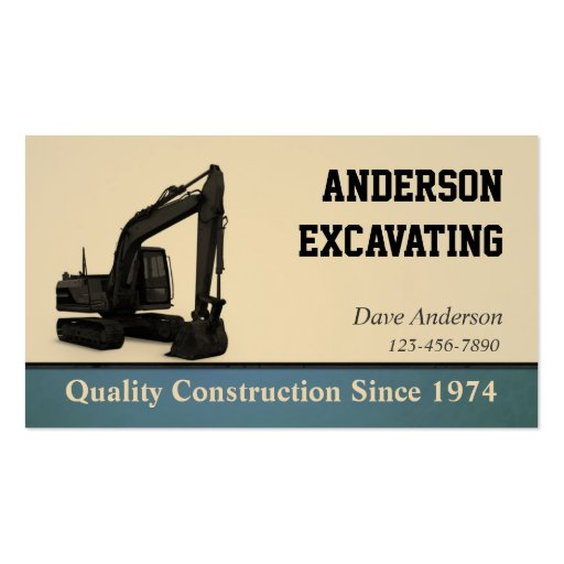 Excavator Construction Business Cards