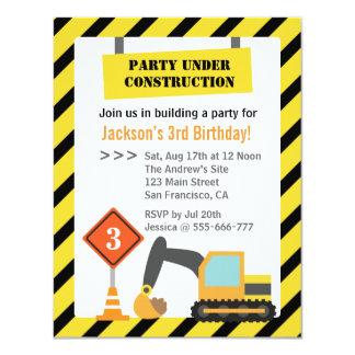 Excavator Construction Theme kids Birthday Party Card