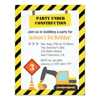 "Excavator Construction Theme kids Birthday Party 4.25"" X 5.5"" Invitation Card"