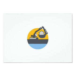 Excavator Digger Handling House Circle Retro Card