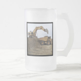 Excavator & Dump Truck Frosted Glass Beer Mug