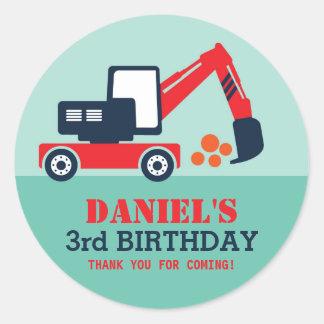 Excavator Kid Builder Birthday Party Favor Sticker