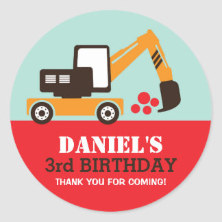 Excavator Kids Builder Birthday Party Sticker