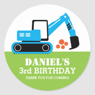 Excavator Kids Builder Birthday Party Stickers